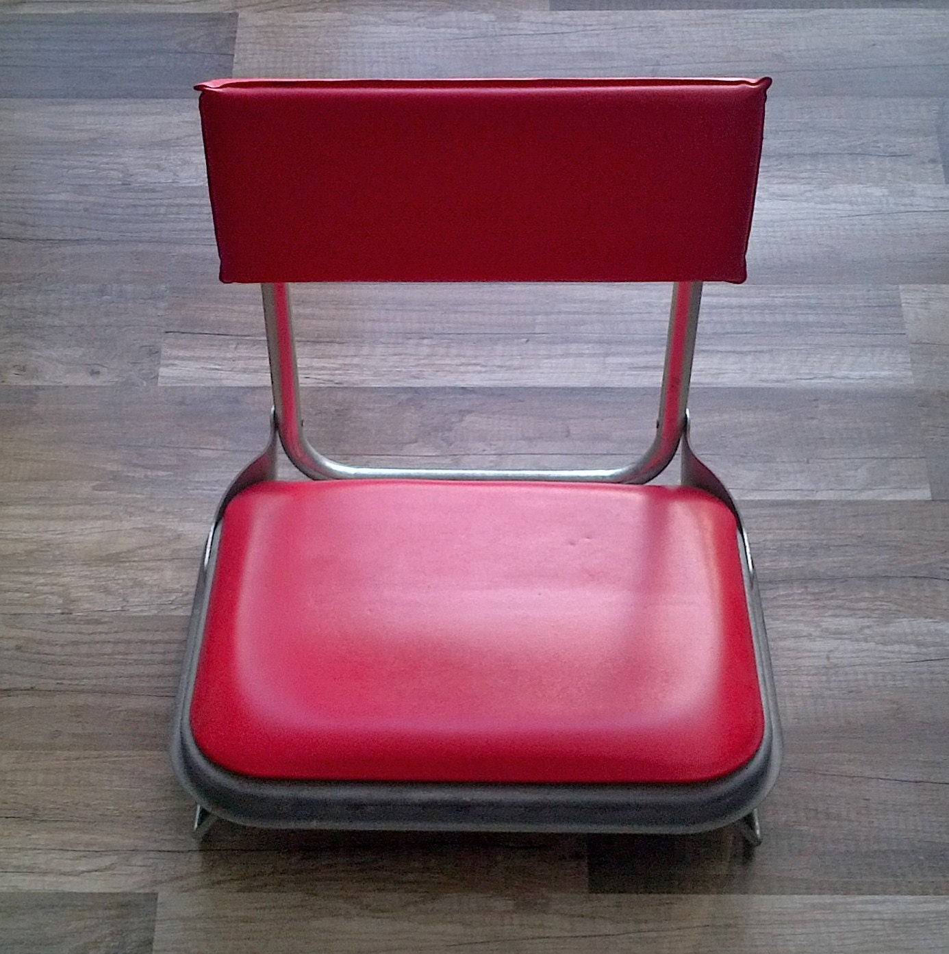 Metal Stadium Seats : Vintage folding stadium bleacher stand seat red vinyl