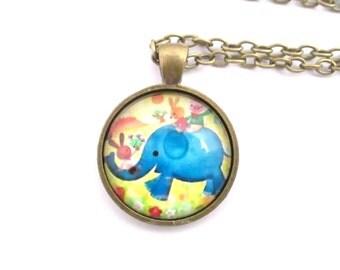 Blue elephant pendant necklace