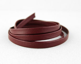 CLOSEOUT Genuine Flat Burgundy Leather Cord, Folded, Maroon, 6mm (1/4 inch) 275 INCHES (1390)