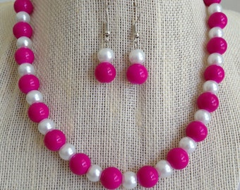 Pink Necklace, Pink and White Necklace, Pink Wedding Jewelry, Pink Bridesmaid Jewelry, Bridesmaid Gift, Pink Jewelry Set