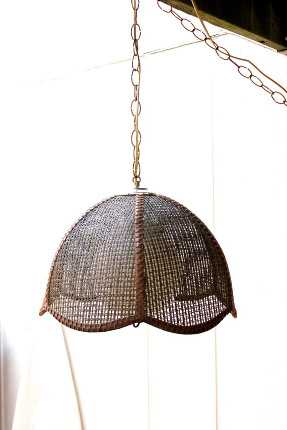 Vintage Rattan Tulip Hanging Ceiling Light