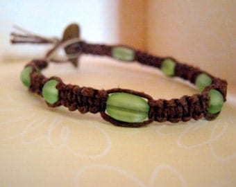 Natural Brown Hemp Bracelet with Glass Beads