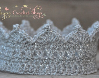 Silver Baby Crochet Crown, Baby Accessories, Newborn Size, Infant Girl/Boy crown , princess/prince toddlers
