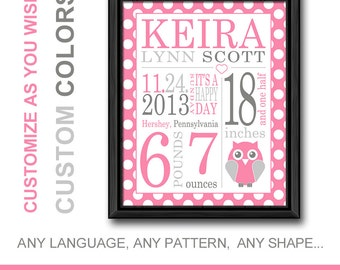 birth wall art owl, birth stats print polka dot, new baby girl gift, personalized baby decor, baby birth stats, baby announcement gift