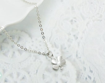 Lucky necklace, lucky charm, silver necklace, lucky charm necklace, clover necklace, silver charm necklace, charm necklace, cute necklace