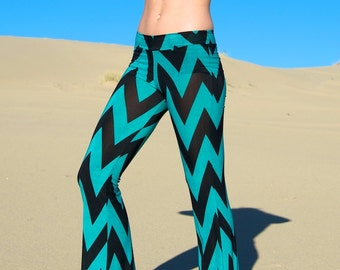 CHEVRON striped wide leg or flare leg bell bottom fashion gypsy hippie retro festival yoga beach lounge pants