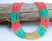 Coral Turquoise and Gold Statement Necklace Multi-strand Necklace