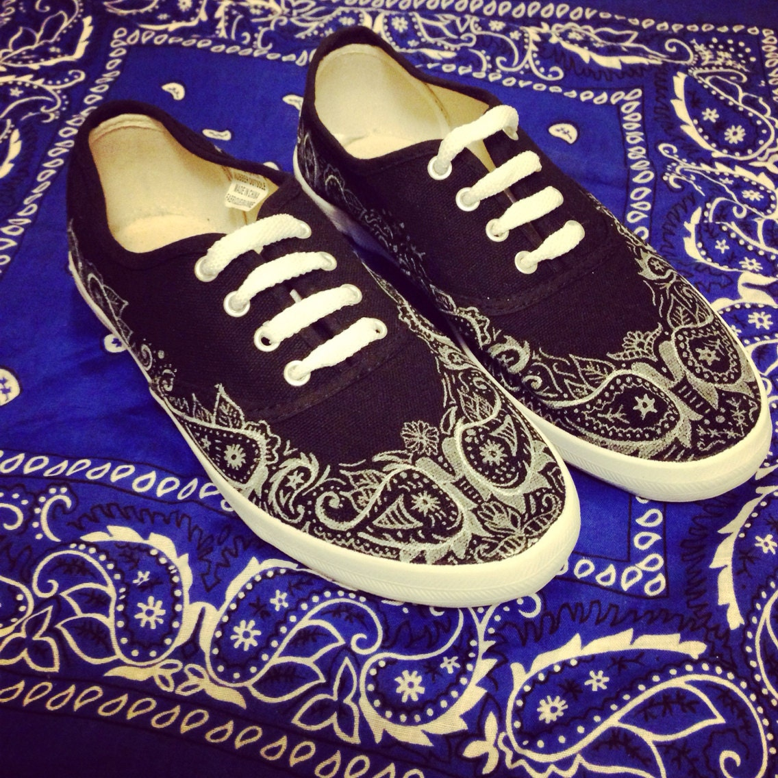 bandana patterned canvas shoes by etsybyveasey on etsy