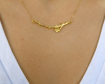 Cherry Blossom Necklace, Branch Necklace, Gold Branch Necklace