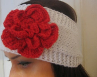 women headband white headband Handmade Knitted Headband with crochet flower Wrap Red Flower Hat Girly Romantic winter accessories