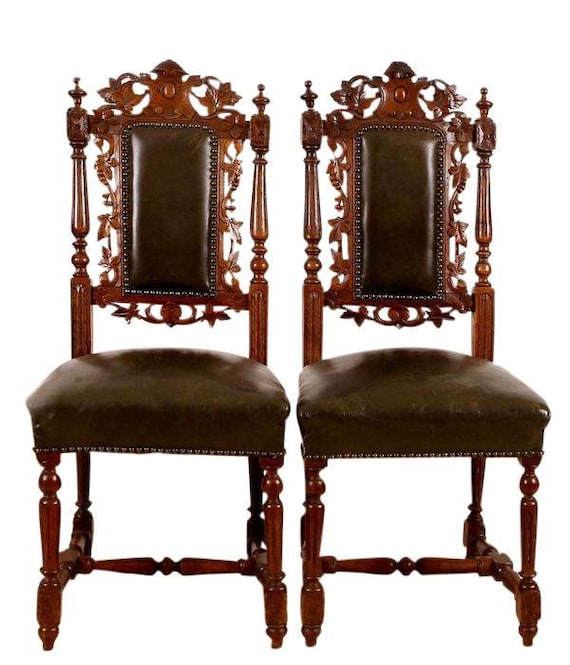 Set of Six Black Forest Carved Oak Dining Room Chairs Leather : il570xN571317431sdng from www.etsy.com size 570 x 665 jpeg 87kB