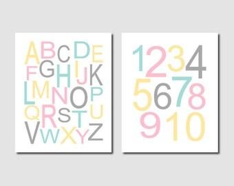 Alphabet Letters, Alphabet Art, Alphabet Print, Pink Gray Nursery, Girl Nursery Decor, Kids Playroom Decor Set of 2 Prints Or Canvas
