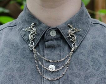 Silver Griffin Collar Chain/ Cardigan Clip