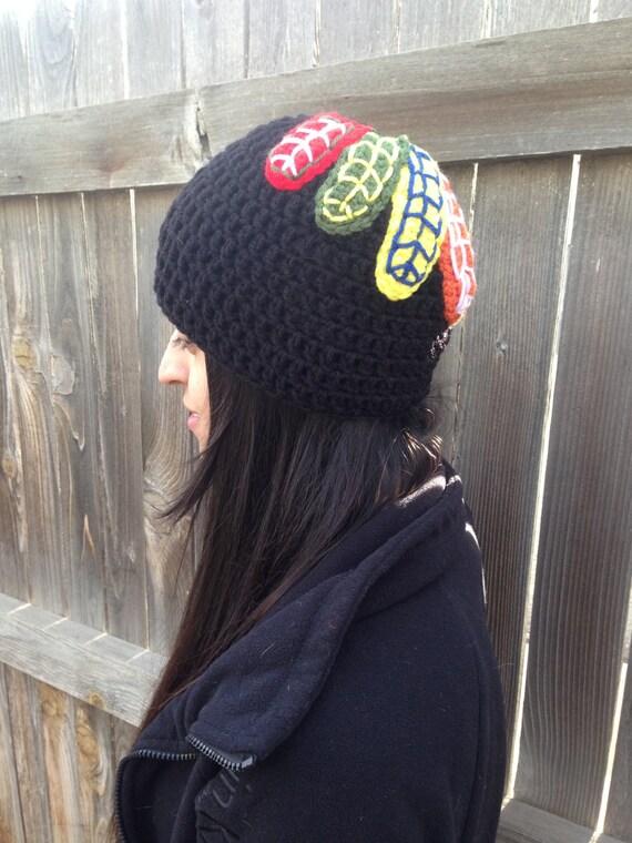 Blackhawks Hat With Feathers Blackhawks Feathers Beanie