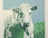Irish Cow Linoprint original / green cow / 16x16cm
