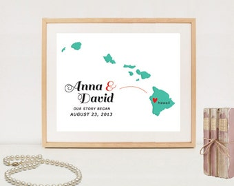 Hawaii kaart - aangepaste bruiloft kaart poster - afdrukbare bruiloft huwelijksgeschenk - digitaal bestand!