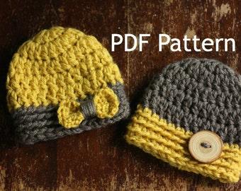 PDF Crochet Chunky Twin Hat Beanie Pattern Newborn