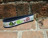 Handmade colorful polka dot whale ribbon key fob chain, navy blue lime pink, nautical, party favor, wedding bridesmaids gifts, sweet sixteen
