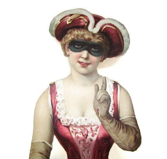 Riesige viktorianischen sterben Schnitt Masquerade Torso Dame trägt ein Risque Korsett-Kostüm, Tricornered Hut, Handschuhe & Maske, Color Litho auf dickes Papier