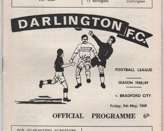 Vintage Football Programme - Darlington v Bradford City, 1968/69 season
