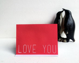Love You - A2 Blank Greeting Card. Red & White, Minimal Note card, all occasions notecard, Anniversary, Modern, Valentines day. Birthday