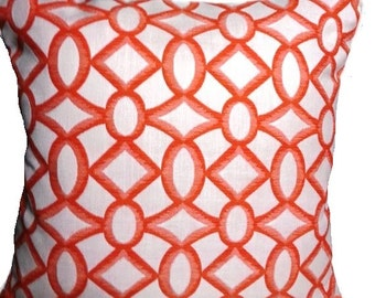 SALE - Trellis Pattern Cheerful Coral Pillow Cover with Solid Color Backing fabric and Zipper
