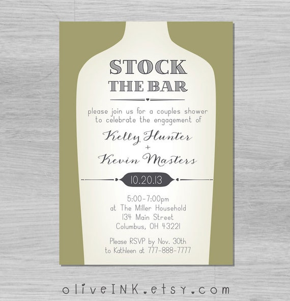 items similar to stock the bar / couples shower / house warming, Party invitations