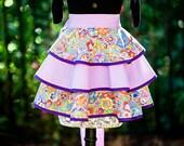 Laurel Burch Purple Cat Print Half Apron - Hostess Style - Three Layer Circle Cut Skirt - FAAP, HAFAIR, TeamHaHa