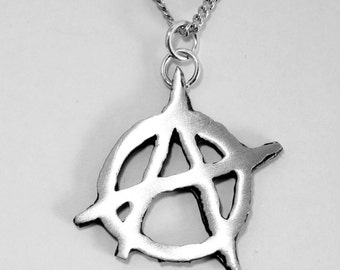 Anarchy Symbol Necklace, English Pewter, Handmade, Gift Boxed (ib)