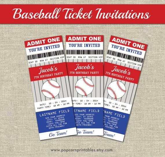 Baseball Ticket Invitations Printables Editable Text PDF