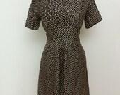 """NOS 1930s / 1940s Print Artificial Silk Dress - German - 30"""" Waist"""