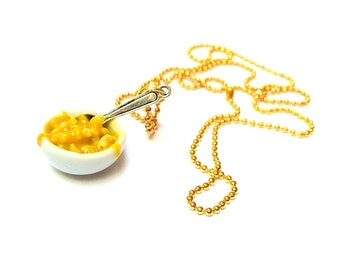 Mac and Cheese Necklace, Miniature Food Jewelry, Polymer Clay Mac and Cheese, Mac n Cheese Jewelry