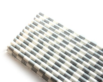 Silver Horizontal Stripe Paper Straws (25) - Party Paper Straws, Drinking Straws