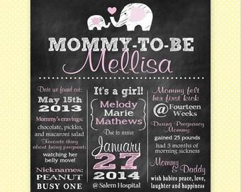 Custom Chalkboard Baby Shower Poster / Pregnancy Annoucement Poster - GIRL - Printable / Mommy-to-Be / Birth Annoucement / Chevron Elephant