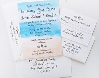 Beach Wedding Invitation, Nautical Wedding Invitation, Starfish Wedding Invitation, Beach Wedding Invitation Set,  Sample