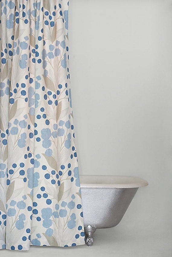 Blue Extra Long Linen Fabric Shower Curtain by emilyellingwood