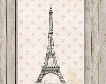 8x10 Eiffel Tower Print, Paris Printable, Floral Wall Art, Nursery Print, Parisian Art, Home Decor, Poster, Instant Digital Download