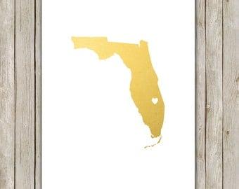8x10 Florida State Printable, State Wall Art, Metallic Gold Printable Art, Florida Poster, Office, Home Decor, Instant Digital Download