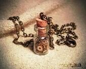 Steampunk Gears Bottle Necklace. Glass Vial Pendant. Cogs Gear Miniature Bottle, Mini Vial, Tiny Small. Vintage Watch Mechanical Movement