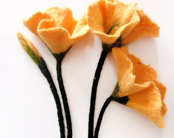 Felt Yellow Flowers - Felted Necklace - Beautiful Felted Blooms - 100% WOOL - ANTIDOTUM