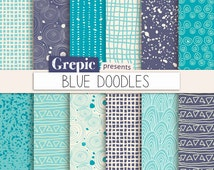 """Doodle digital paper: """"BLUE DOODLES"""" with blue pen doodles, circles, triangles, lines, stripes, spatters and more ink patterns in blue"""