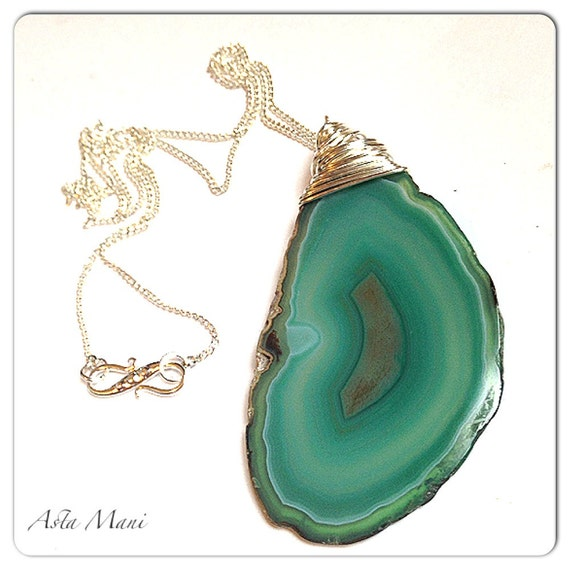 Agate Slice Wire Wrapped Stone Necklace Agate Stone Pendant