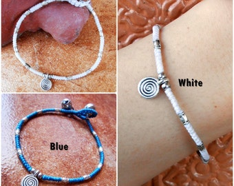 Waxed Cotton Cord with Nice Silver Beads Bracelet, Adjustable Size, Wax String Bracelet Handmade Jewelry. (JB1032)