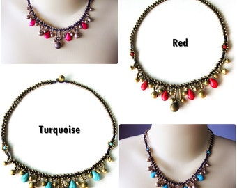 Red or Turquoise Drop Tear Pendent Necklace, Charm, Antique Brass Beads, Stone, Handmade Thailand Jewelry. (JN1015)