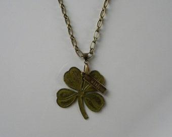 Shamrock Pendant Necklace Lucky Four Leaf Clover St Patrick Necklace