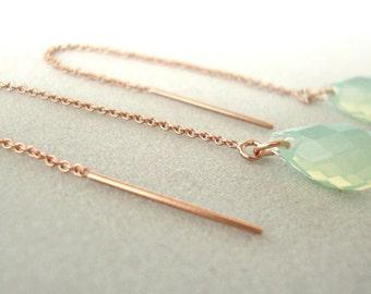 Chrysolite Opal Swarovski Crystal Rose Gold-Filled Threader Earrings - Handmade Jewelry - Bridesmaid Earrings - Minimalist Jewel