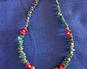 Turquoise And Coral Bead Necklace Southwest Necklace