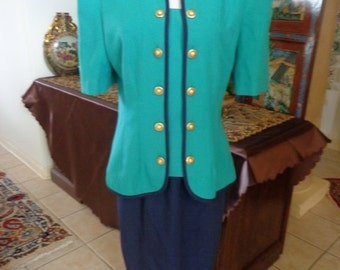 Leslie Faye Vintage 80's Fall Navy Skirt Suit 2 Pc Navy Teal Dress Suit 10 Price Reduction