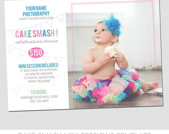 Cake Smash Mini Session Flyer - Photography Marketing Template - 5x7 size - Short Story Sessions - Cute Design - Pennant - Children - Family