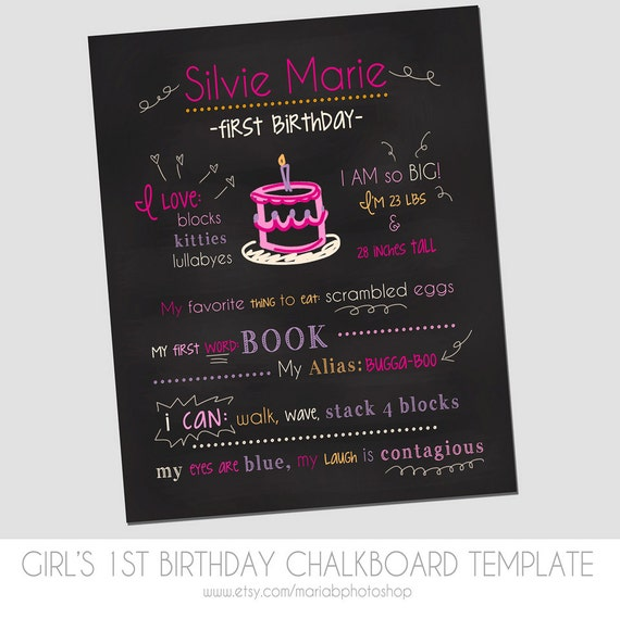 Items similar to girl39s first birthday chalkboard template pink cake marketing template for First birthday chalkboard template